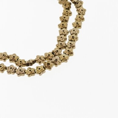 Hematite, Reconstituted, Flower Bead, Two Ways Drilled, Brown, 39-40 cm/strand, 6x3 mm