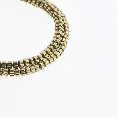 Hematite, Reconstituted, Flower Rondelle Bead, Khaki Gold, 39-40 cm/strand, 3x2, 4x2, 6x2 mm