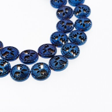 Hematite, Reconstituted, Hollow Tree of Life Bead, Blue, 39-40 cm/strand, 12 mm