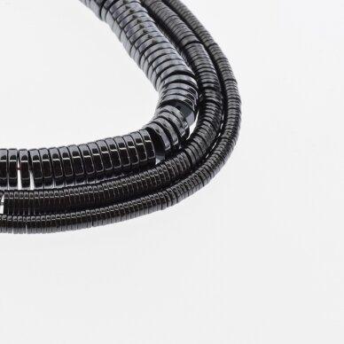 Hematitas, regeneruotas, heishi rondelės forma, juoda spalva, 39-40 cm/gija, 2x1, 3x1, 4x1, 6x1, 6x2, 8x2, 10x2 mm