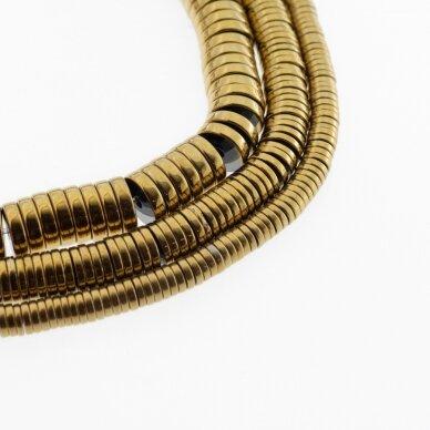 Hematitas, regeneruotas, heishi rondelės forma, tamsaus aukso spalva, 39-40 cm/gija, 2x1 mm