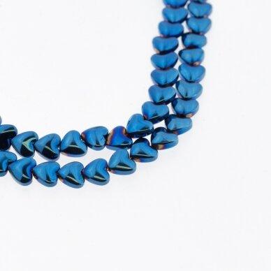 Hematitas, regeneruotas, išgaubta širdelės forma, mėlyna spalva, 39-40 cm/gija, 6 mm
