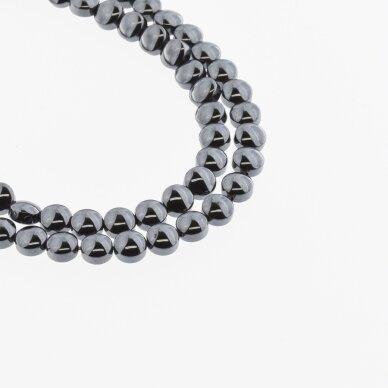 Hematite, Reconstituted, Puffed Disc Bead, Black, 39-40 cm/strand, 4 mm