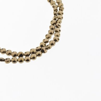 Hematite, Reconstituted, Puffed Disc Bead, Brown, 39-40 cm/strand, 4 mm