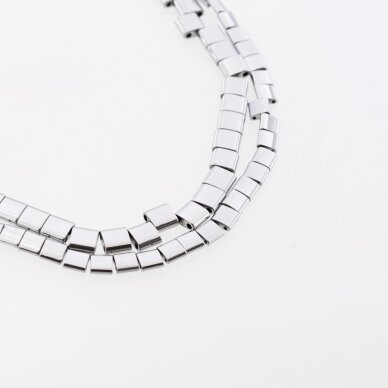 Hematite, Reconstituted, Puffed Square Bead, Double Drilled, Nickel Grey, 39-40 cm/strand, 5x5x2, 6x6x3 mm