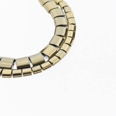 Hematitas, regeneruotas, išgaubto kvadrato forma, šoniniai išėmimai, Chaki aukso spalva, 39-40 cm/gija, 5, 7 ,9 mm