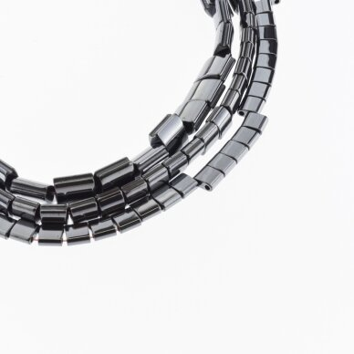 Hematite, Reconstituted, Puffed Square Bead, Two Sides Grooved, Black, 39-40 cm/strand, 5 mm