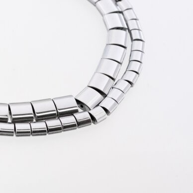 Hematite, Reconstituted, Puffed Square Bead, Two Sides Grooved, Nickel Grey, 39-40 cm/strand, 5, 7, 9 mm