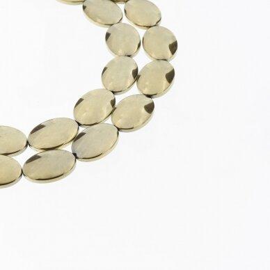 Hematitas, regeneruotas, išgaubto ovalo forma, Chaki aukso spalva, 39-40 cm/gija, 6x8, 10x14, 13x18 mm