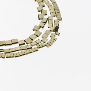 Hematitas, regeneruotas, išgaubto stačiakampio forma, dvi skylutės, Chaki aukso spalva, 39-40 cm/gija, 5x2x2, 6x1x3, 6x2x3, 12x20x6 mm