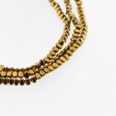 Hematitas, regeneruotas, išgaubto trikampio rondelės forma, tamsaus aukso spalva, 39-40 cm/gija, 3x2 mm