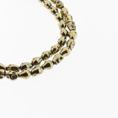 Hematite, Reconstituted, Scull Bead, Khaki Gold, 39-40 cm/strand, 4x6, 6x8, 8x10 mm