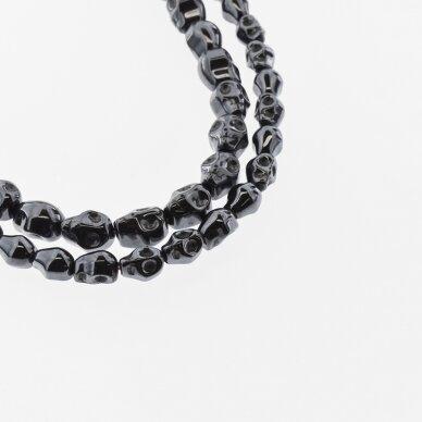 Hematite, Reconstituted, Scull Bead, Black, 39-40 cm/strand, 4x6 mm