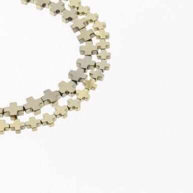 Hematite, Reconstituted, Cross Bead, Khaki Gold, 39-40 cm/strand, 4x4, 6x6, 6x8, 8x8, 8x10 mm 2