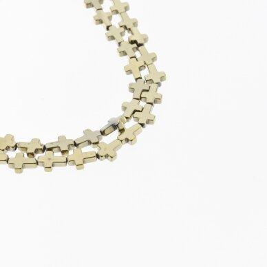 Hematitas, regeneruotas, kryželio forma, Chaki aukso spalva, 39-40 cm/gija, 4x4, 6x6, 6x8, 8x8, 8x10 mm