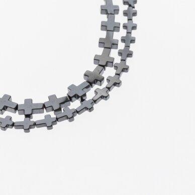 Hematitas, regeneruotas, kryželio forma, juoda spalva, 39-40 cm/gija, 4x4, 6x6, 6x8, 8x8, 8x10 mm 2