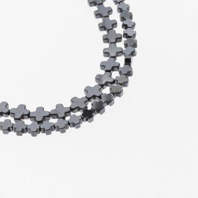 Hematitas, regeneruotas, kryželio forma, juoda spalva, 39-40 cm/gija, 4x4, 6x6, 6x8, 8x8, 8x10 mm