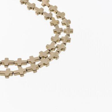 Hematite, Reconstituted, Cross Bead, Brown, 39-40 cm/strand, 4x4 mm 2