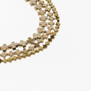 Hematite, Reconstituted, Cross Bead, Brown, 39-40 cm/strand, 4x4 mm
