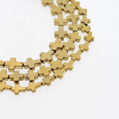 Hematitas, regeneruotas, kryželio forma, tamsaus aukso spalva, 39-40 cm/gija, 4x4 mm