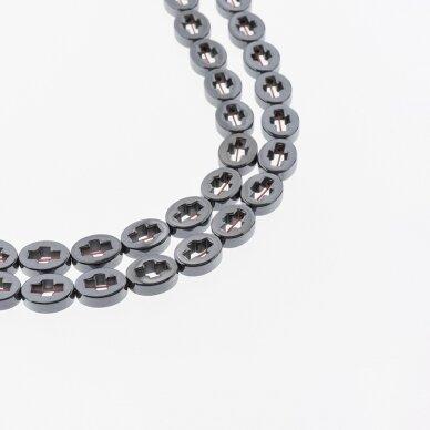 Hematite, Reconstituted, Cross in Oval Bead, Black, 39-40 cm/strand, 8x10 mm