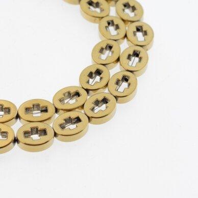Hematitas, regeneruotas, kryželio ovale forma, tamsaus aukso spalva, 39-40 cm/gija, 8x10 mm