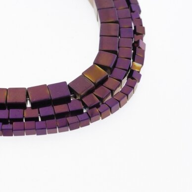 Hematite, Reconstituted, Cube Bead, Purple, 39-40 cm/strand, 1 mm