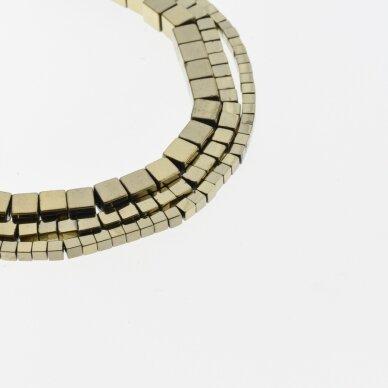 Hematitas, regeneruotas, kubo forma, Chaki aukso spalva, 39-40 cm/gija, 1, 1.5, 2, 3, 4, 6, 8, 10 mm