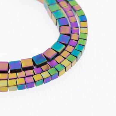 Hematite, Reconstituted, Cube Bead, Rainbow, 39-40 cm/strand, 1 mm
