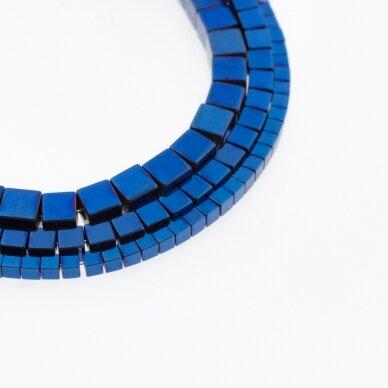 Hematitas, regeneruotas, kubo forma, mėlyna spalva, 39-40 cm/gija, 1 mm