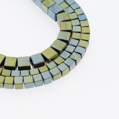 Hematite, Reconstituted, Cube Bead, Green, 39-40 cm/strand, 1 mm