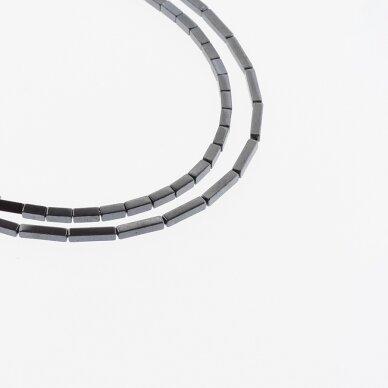 Hematitas, regeneruotas, kvadratinio vamzdžio forma, juoda spalva, 39-40 cm/gija, 1x3, 1x6, 2x4 mm