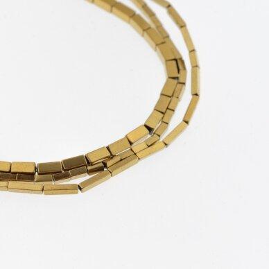 Hematitas, regeneruotas, kvadratinio vamzdžio forma, tamsaus aukso spalva, 39-40 cm/gija, 1x3 mm
