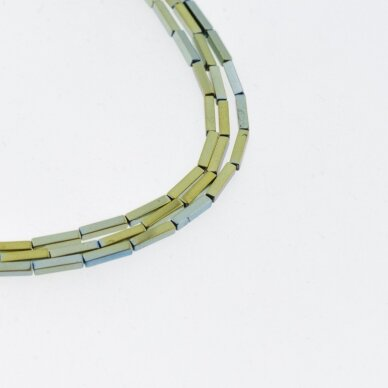 Hematitas, regeneruotas, kvadratinio vamzdžio forma, žalia spalva, 39-40 cm/gija, 1x3 mm