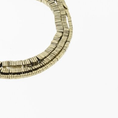 Hematitas, regeneruotas, kvadrato rondelės forma, Chaki aukso spalva, 39-40 cm/gija, 2x1, 3x1, 4x1, 6x1 mm