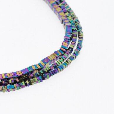Hematite, Reconstituted, Square Rondelle Bead, Rainbow, 39-40 cm/strand, 2x1 mm