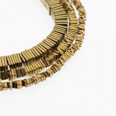 Hematitas, regeneruotas, kvadrato rondelės forma, tamsaus aukso spalva, 39-40 cm/gija, 2x1 mm