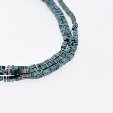Hematite, Reconstituted, Square Rondelle Bead, Green, 39-40 cm/strand, 2x1 mm