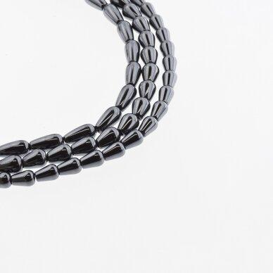 Hematite, Reconstituted, Teardrop Bead, Black, 39-40 cm/strand, 5x8 mm