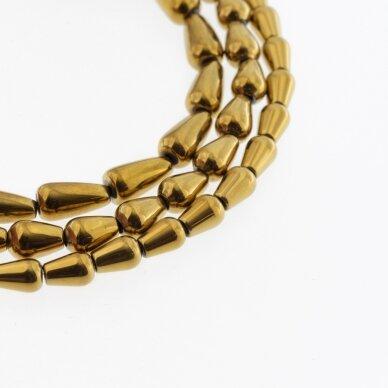 Hematitas, regeneruotas, lašo forma, tamsaus aukso spalva, 39-40 cm/gija, 5x8 mm