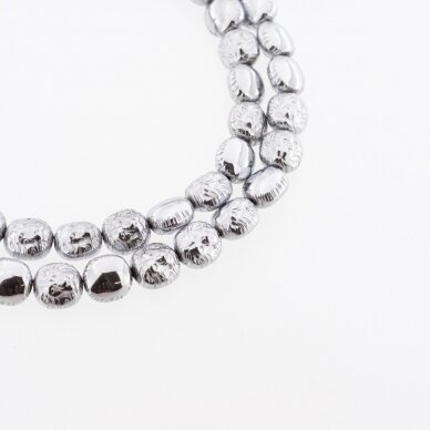 Hematite, Reconstituted, Lion Head Bead, Nickel Grey, 39-40 cm/strand, 8x10 mm