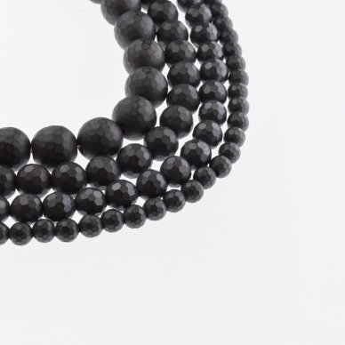 Hematite, Reconstituted, Matte 96-Faceted Round Bead, Black, 39-40 cm/strand, 6 mm