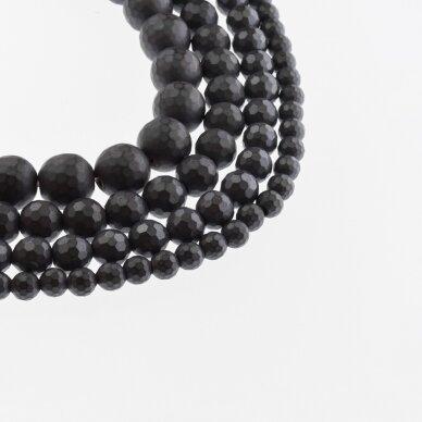 Hematitas, regeneruotas, matinis, 96-briaunuotas, apvali forma, juoda spalva, 39-40 cm/gija, 6, 8, 10, 12, 14 mm