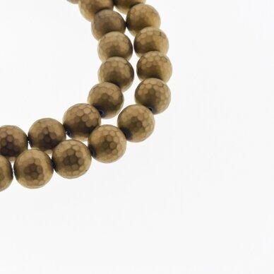 Hematitas, regeneruotas, matinis, 96-briaunuotas, apvali forma, ruda spalva, 39-40 cm/gija, 6, 8, 10, 12, 14 mm