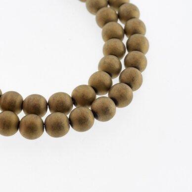 Hematitas, regeneruotas, matinis, apvali forma, tamsaus aukso spalva, 39-40 cm/gija, 1.5 mm