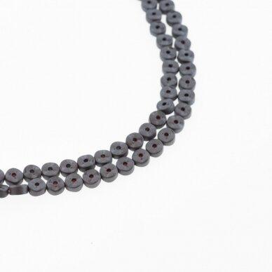 Hematitas, regeneruotas, matinis, banguota rondelės forma, du gręžimo būdai, juoda spalva, 39-40 cm/gija, 4x2 mm
