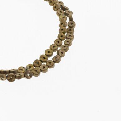 Hematite, Reconstituted, Matte Waved Rondelle Bead, Two Ways Drilled, Brown, 39-40 cm/strand, 4x2 mm