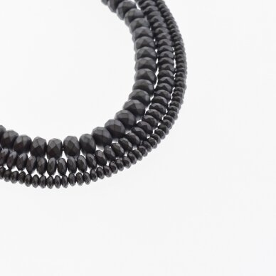 Hematite, Reconstituted, Matte Faceted Abacus Rondelle Bead, Black, 39-40 cm/strand, 3x2 mm