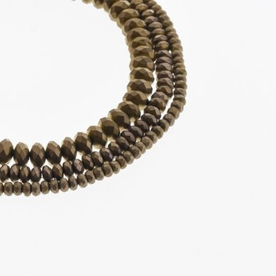 Hematite, Reconstituted, Matte Faceted Abacus Rondelle Bead, Brown, 39-40 cm/strand, 3x2 mm
