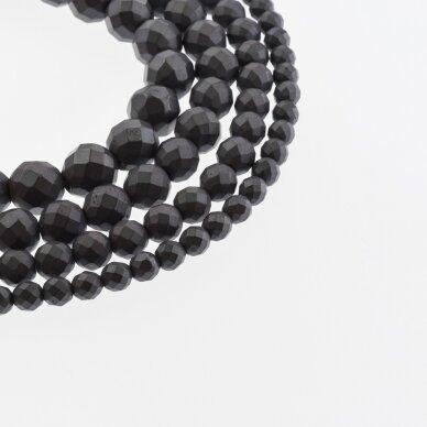 Hematite, Reconstituted, Matte Faceted Round Bead, Black, 39-40 cm/strand, 2 mm